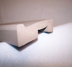 a custom foam thermoplastic extrusion with long ridges and a rectangular hole