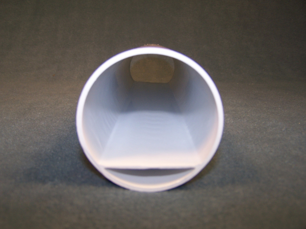 Inside view of a white custom-designed PVC tube, manufactured by Crescent Plastics.